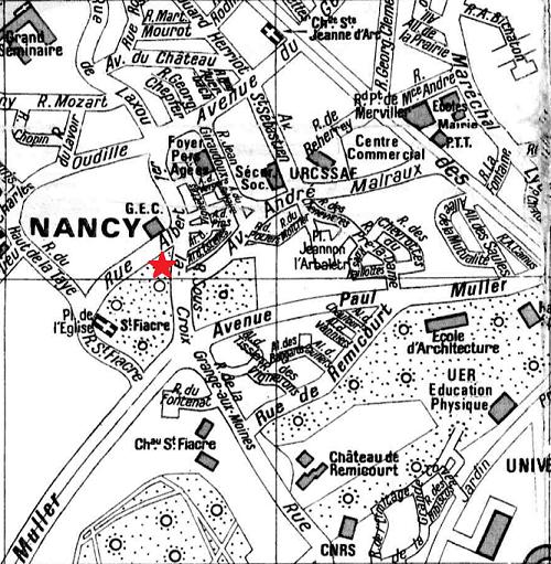 plan d`accès au centre des Ecraignes de Villers-lès-Nancy (commune du Grand Nancy)